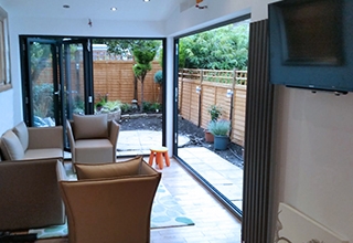 new open plan living area and garden
