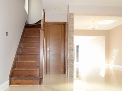staircase and open plan room